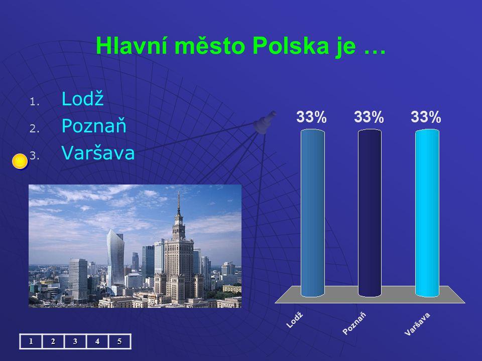 Hlavní město Polska je … 1. 1. Lodž 2. 2. Poznaň 3. 3. Varšava12345