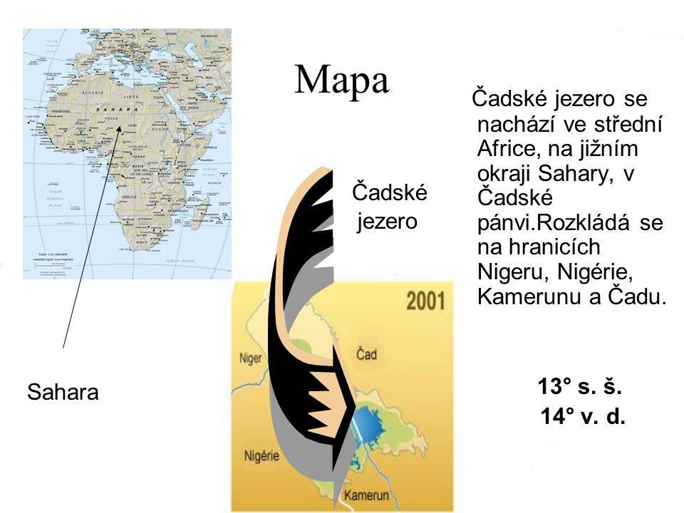 Mapa Čadské jezero se nachází ve střední Africe, na jižním okraji Sahary, v Čadské pánvi.Rozkládá se na hranicích Nigeru, Nigérie, Kamerunu a Čadu.
