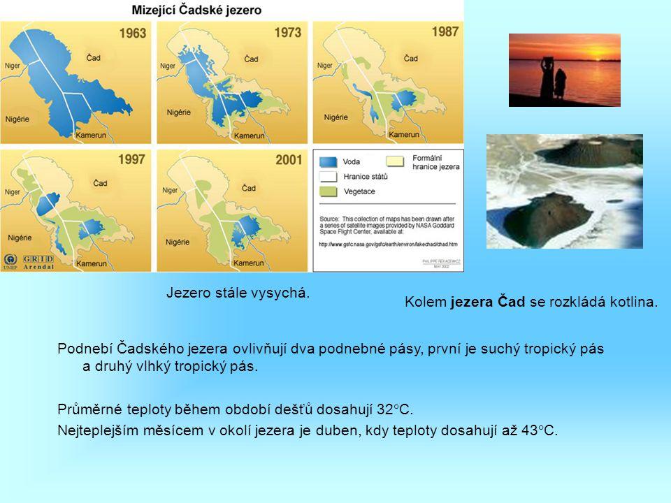 Jezero stále vysychá. Podnebí Čadského jezera ovlivňují dva podnebné pásy, první je suchý tropický pás a druhý vlhký tropický pás. Průměrné teploty bě