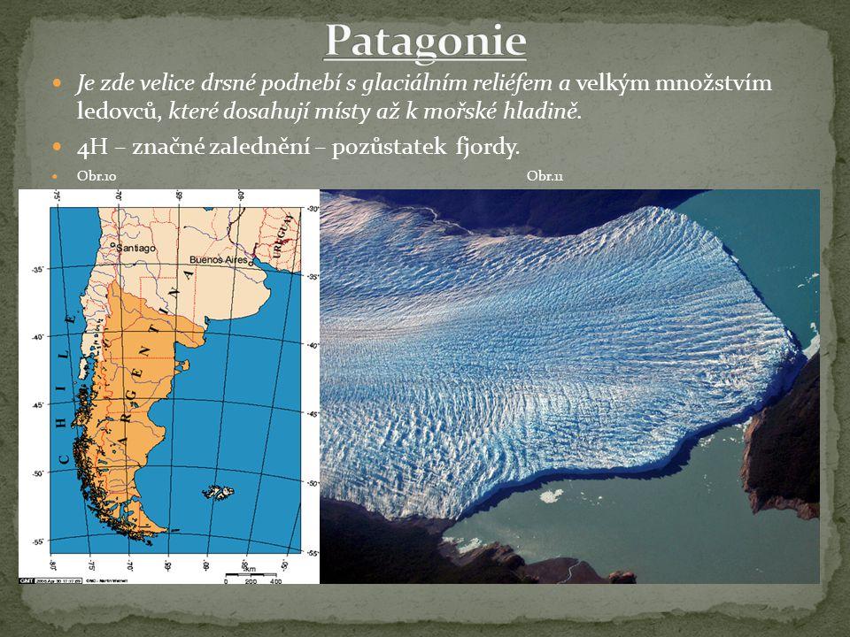 Je zde velice drsné podnebí s glaciálním reliéfem a velkým množstvím ledovců, které dosahují místy až k mořské hladině. 4H – značné zalednění – pozůst