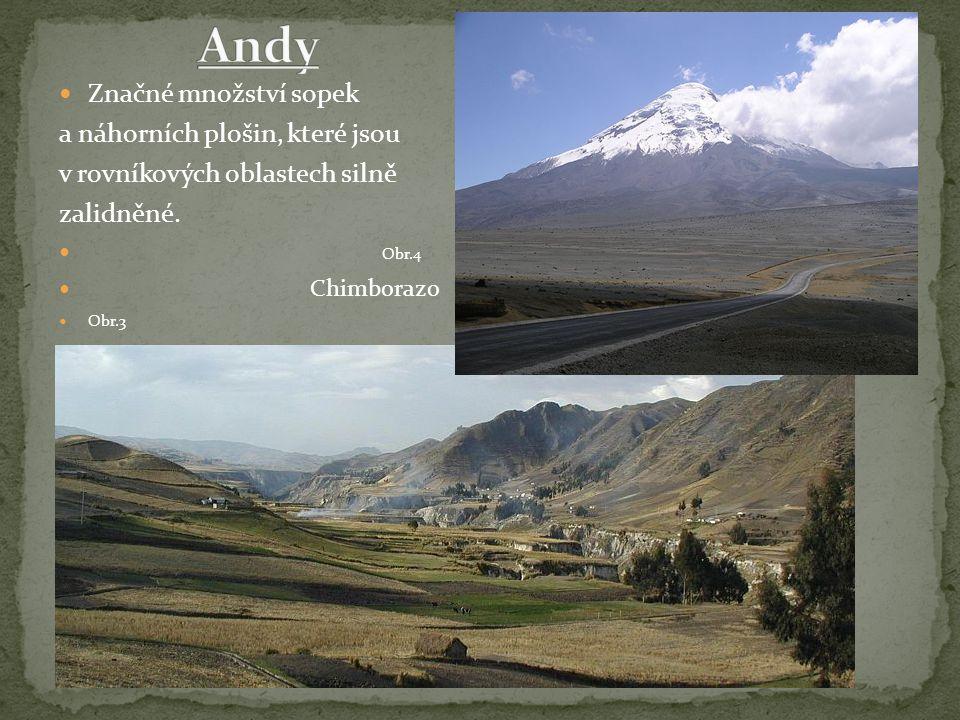 Značné množství sopek a náhorních plošin, které jsou v rovníkových oblastech silně zalidněné. Obr.4 Chimborazo Obr.3