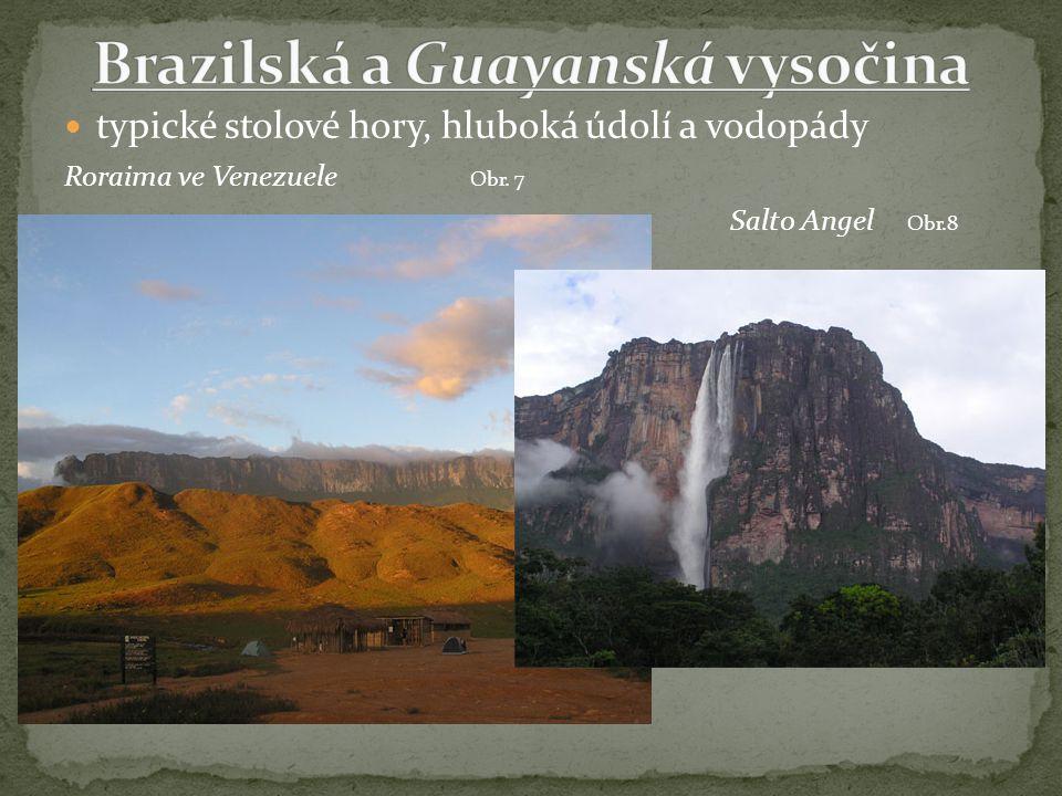 typické stolové hory, hluboká údolí a vodopády Roraima ve Venezuele Obr. 7 Salto Angel Obr.8