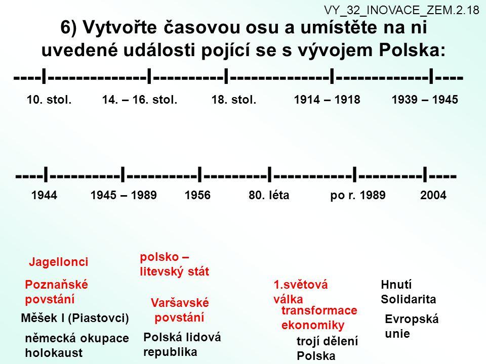 6) Vytvořte časovou osu a umístěte na ni uvedené události pojící se s vývojem Polska: ----I--------------I----------I--------------I-------------I----