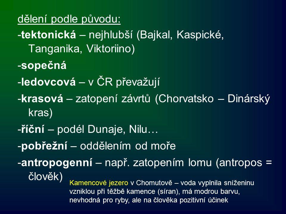dělení podle původu: -tektonická – nejhlubší (Bajkal, Kaspické, Tanganika, Viktoriino) -sopečná -ledovcová – v ČR převažují -krasová – zatopení závrtů