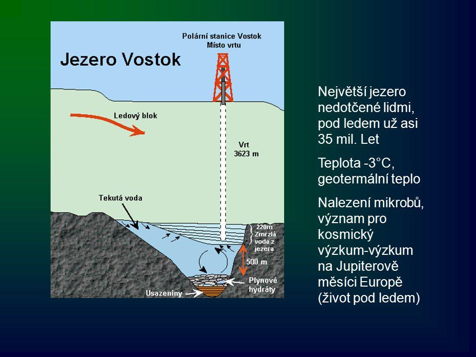 Největší jezero nedotčené lidmi, pod ledem už asi 35 mil. Let Teplota -3°C, geotermální teplo Nalezení mikrobů, význam pro kosmický výzkum-výzkum na J
