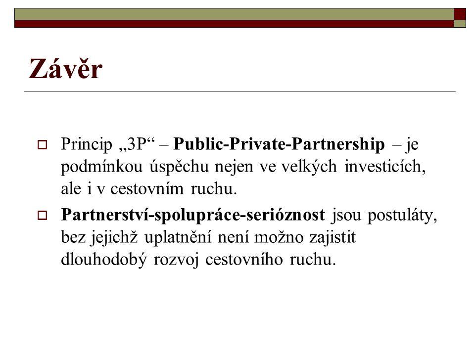 """Závěr  Princip """"3P – Public-Private-Partnership – je podmínkou úspěchu nejen ve velkých investicích, ale i v cestovním ruchu."""