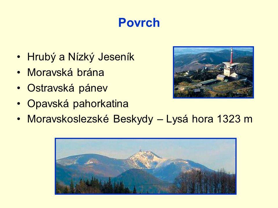 Povrch Hrubý a Nízký Jeseník Moravská brána Ostravská pánev Opavská pahorkatina Moravskoslezské Beskydy – Lysá hora 1323 m