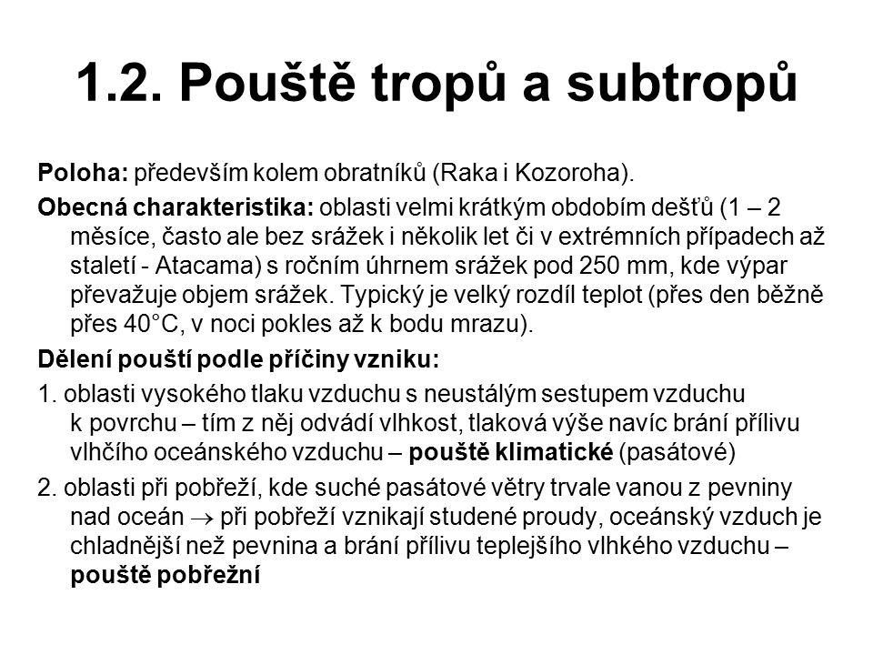 1.2. Pouště tropů a subtropů Poloha: především kolem obratníků (Raka i Kozoroha). Obecná charakteristika: oblasti velmi krátkým obdobím dešťů (1 – 2 m