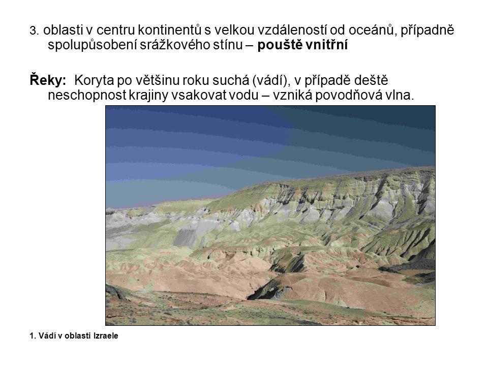 3. oblasti v centru kontinentů s velkou vzdáleností od oceánů, případně spolupůsobení srážkového stínu – pouště vnitřní Řeky: Koryta po většinu roku s