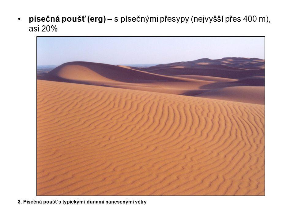 písečná poušť (erg) – s písečnými přesypy (nejvyšší přes 400 m), asi 20% 3. Písečná poušť s typickými dunami nanesenými větry