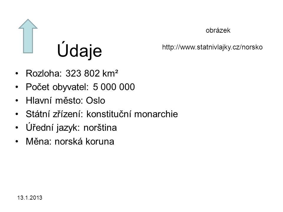 13.1.2013 Údaje Rozloha: 323 802 km² Počet obyvatel: 5 000 000 Hlavní město: Oslo Státní zřízení: konstituční monarchie Úřední jazyk: norština Měna: n