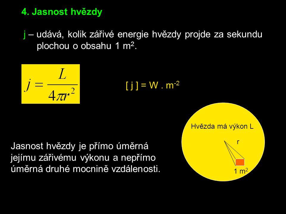 3.Zářivý výkon L - je veličina udávající celkovou energii, kterou hvězda vyzáří za 1s.