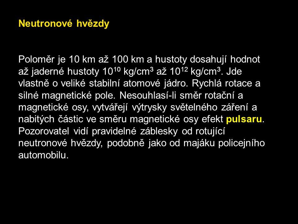 Bílí trpaslíci Poloměr je 1 000 km až 10 000 km, hustota až 103 kg/cm 3, maximální hmotnost 1,44 MS.