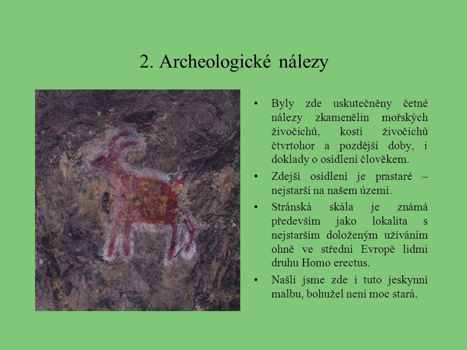2. Archeologické nálezy Byly zde uskutečněny četné nálezy zkamenělin mořských živočichů, kostí živočichů čtvrtohor a pozdější doby, i doklady o osídle