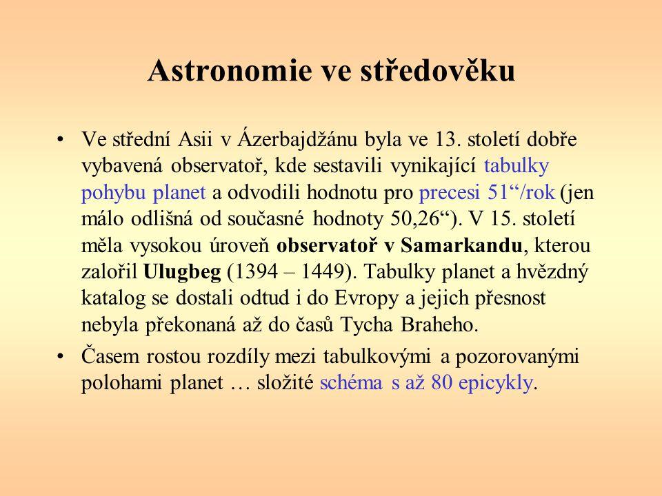 Astronomie ve středověku Ve střední Asii v Ázerbajdžánu byla ve 13. století dobře vybavená observatoř, kde sestavili vynikající tabulky pohybu planet