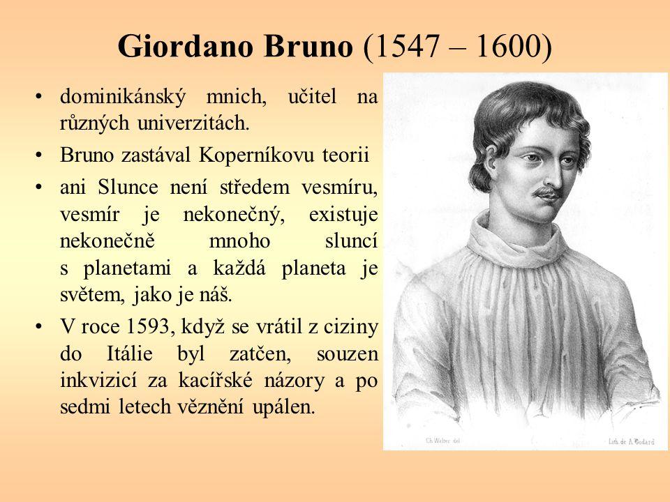 Giordano Bruno (1547 – 1600) dominikánský mnich, učitel na různých univerzitách. Bruno zastával Koperníkovu teorii ani Slunce není středem vesmíru, ve