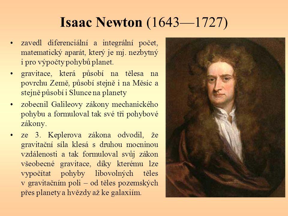 Isaac Newton (1643—1727) zavedl diferenciální a integrální počet, matematický aparát, který je mj. nezbytný i pro výpočty pohybů planet. gravitace, kt