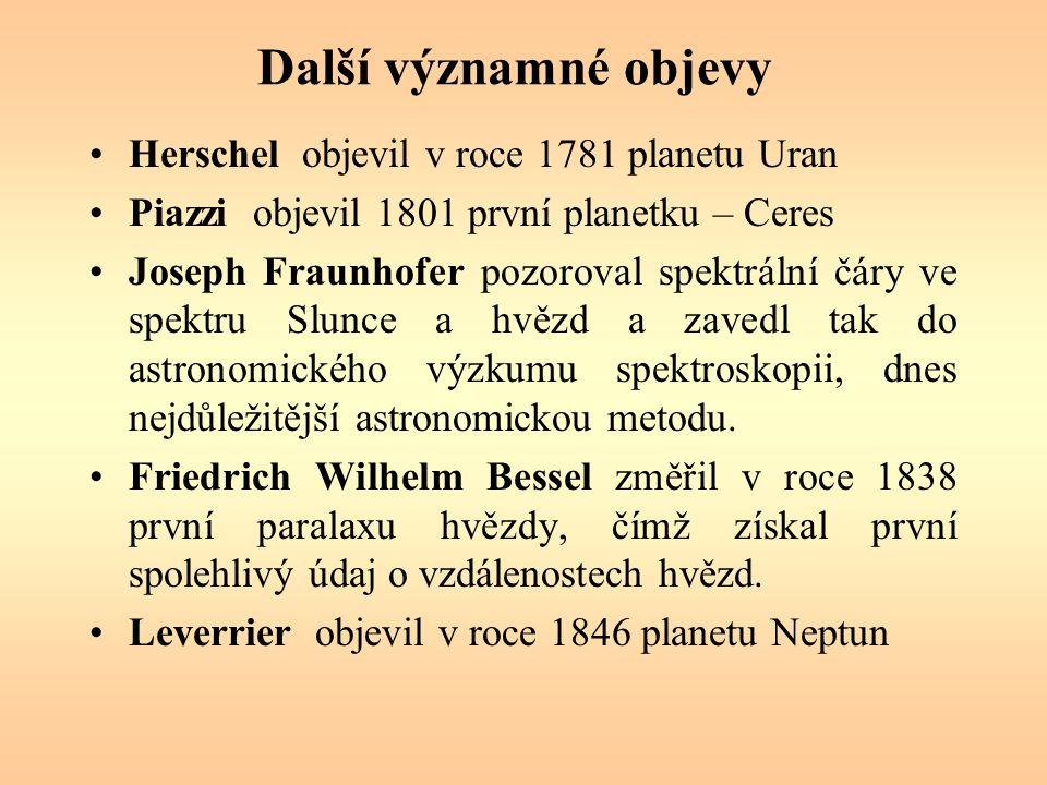 Další významné objevy Herschel objevil v roce 1781 planetu Uran Piazzi objevil 1801 první planetku – Ceres Joseph Fraunhofer pozoroval spektrální čáry ve spektru Slunce a hvězd a zavedl tak do astronomického výzkumu spektroskopii, dnes nejdůležitější astronomickou metodu.