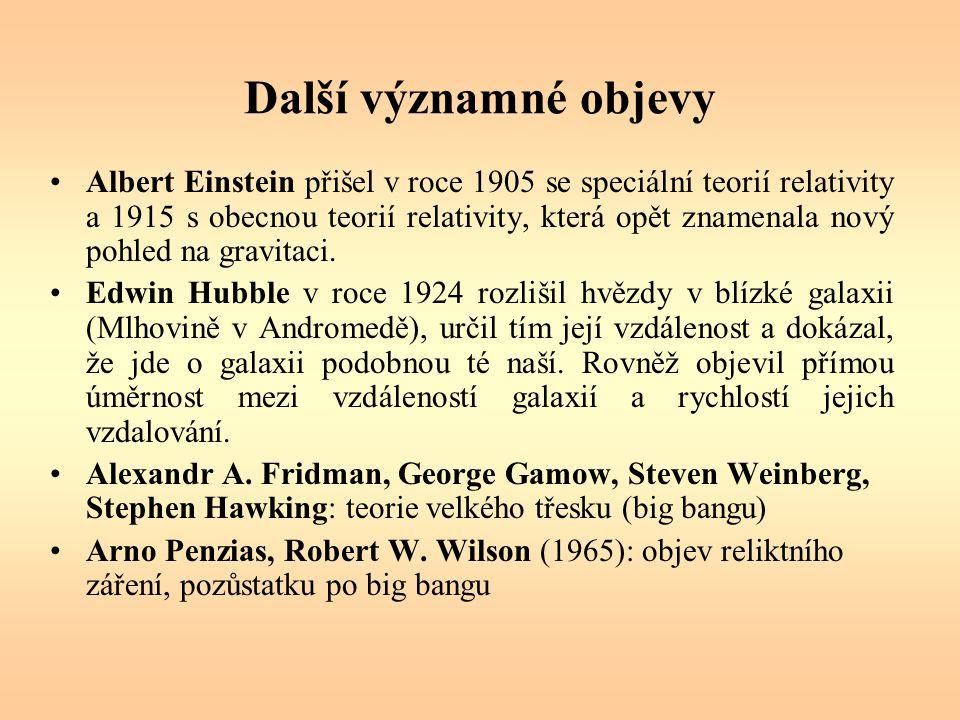 Další významné objevy Albert Einstein přišel v roce 1905 se speciální teorií relativity a 1915 s obecnou teorií relativity, která opět znamenala nový