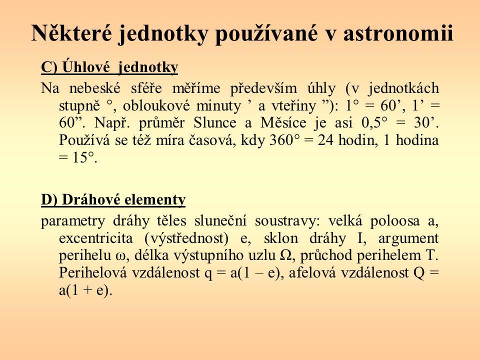 Některé jednotky používané v astronomii C) Úhlové jednotky Na nebeské sféře měříme především úhly (v jednotkách stupně °, obloukové minuty ' a vteřiny