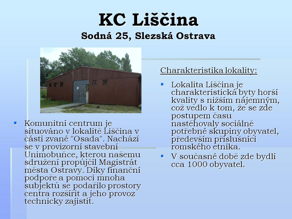KC Liščina Sodná 25, Slezská Ostrava  Komunitní centrum je situováno v lokalitě Liščina v části zvané Osada .