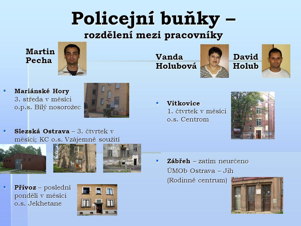 Policejní buňky – rozdělení mezi pracovníky Martin Martin Pecha Pecha  Mariánské Hory 3.
