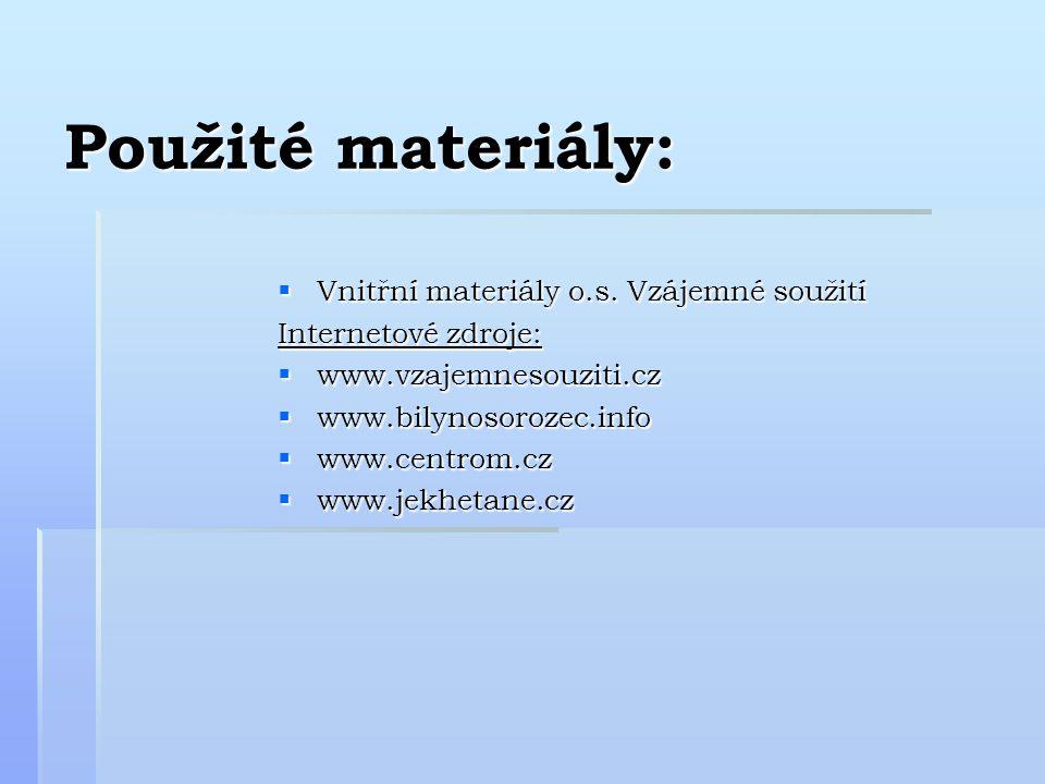 Použité materiály:  Vnitřní materiály o.s.
