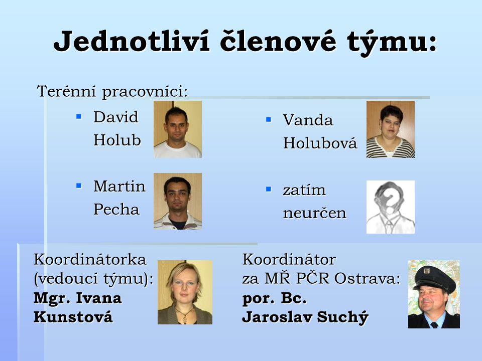 Jednotliví členové týmu:  David Holub  Martin Pecha  Vanda Holubová  zatím neurčen Terénní pracovníci: Koordinátorka (vedoucí týmu): Mgr.