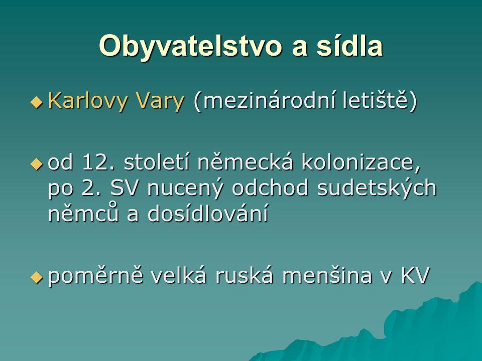 Obyvatelstvo a sídla  Karlovy Vary (mezinárodní letiště)  od 12.