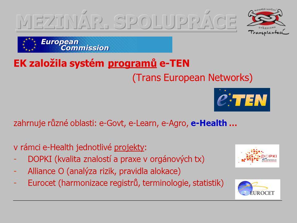EK založila systém programů e-TEN (Trans European Networks) zahrnuje různé oblasti: e-Govt, e-Learn, e-Agro, e-Health … v rámci e-Health jednotlivé projekty: -DOPKI (kvalita znalostí a praxe v orgánových tx) -Alliance O (analýza rizik, pravidla alokace) -Eurocet (harmonizace registrů, terminologie, statistik)