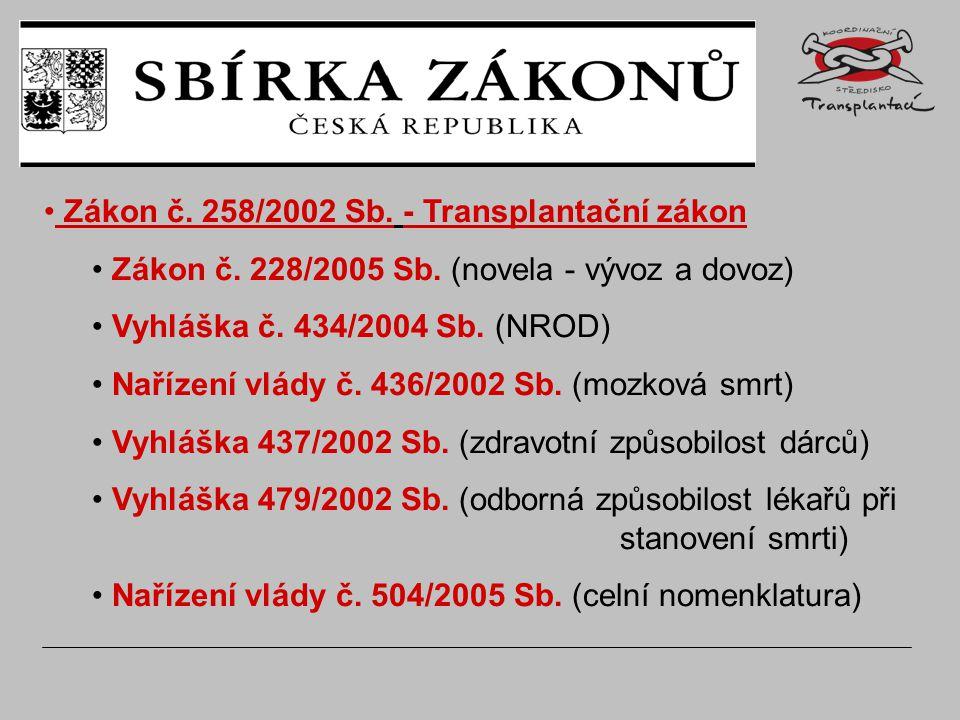 Zákon č. 258/2002 Sb. - Transplantační zákon Zákon č.
