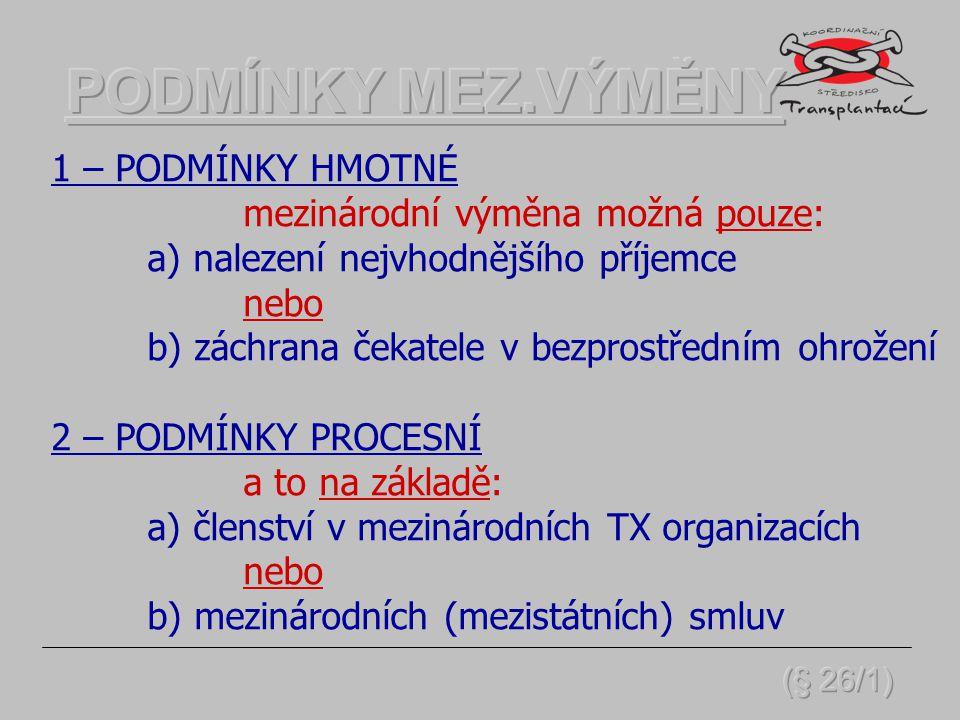 Nabídka tkáně/orgánu do zahraničí možná pouze: a) v ČR není v registru evidován vhodný čekatel nebo b) postup v rámci členství v mezinár.