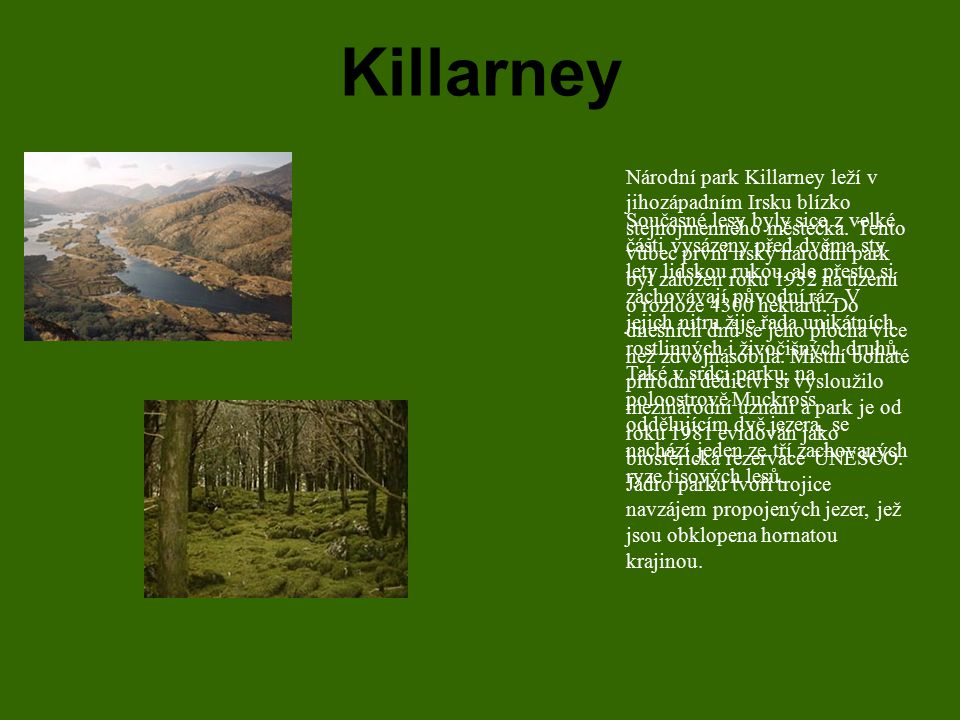 Killarney Národní park Killarney leží v jihozápadním Irsku blízko stejnojmenného městečka. Tento vůbec první irský národní park byl založen roku 1932