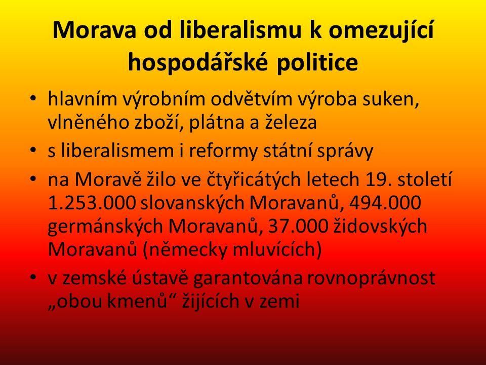 Morava od liberalismu k omezující hospodářské politice hlavním výrobním odvětvím výroba suken, vlněného zboží, plátna a železa s liberalismem i reform
