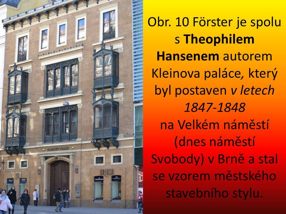 Obr. 10 Förster je spolu s Theophilem Hansenem autorem Kleinova paláce, který byl postaven v letech 1847-1848 na Velkém náměstí (dnes náměstí Svobody)