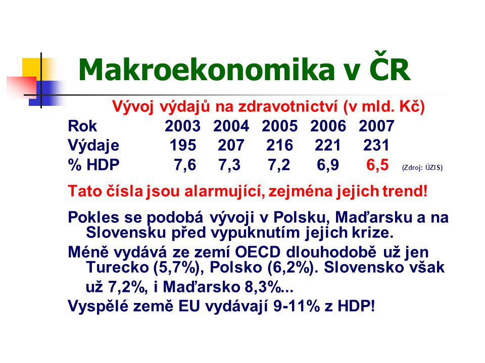 Makroekonomika v ČR Vývoj výdajů na zdravotnictví (v mld.