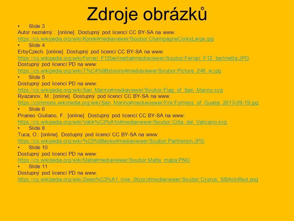 Zdroje obrázků Slide 3 Autor neznámý.: [online]. Dostupný pod licencí CC BY-SA na www: https://cs.wikipedia.org/wiki/Korek#mediaviewer/Soubor:Champagn