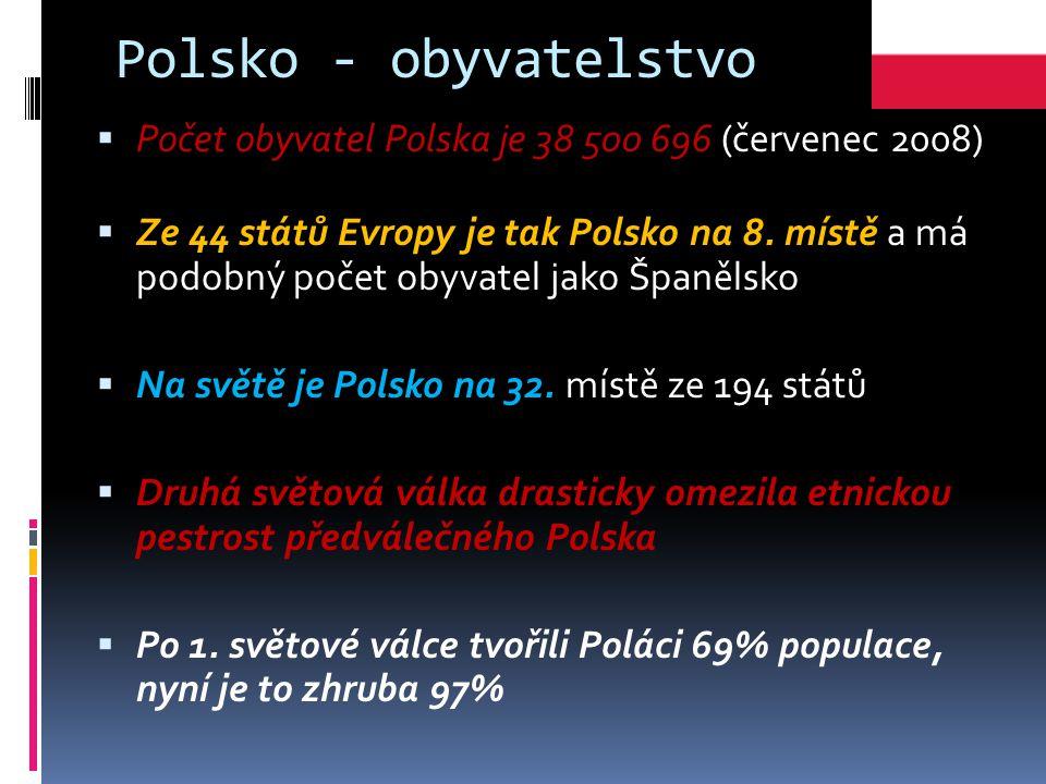 Polsko - obyvatelstvo  Počet obyvatel Polska je 38 500 696 (červenec 2008)  Ze 44 států Evropy je tak Polsko na 8.