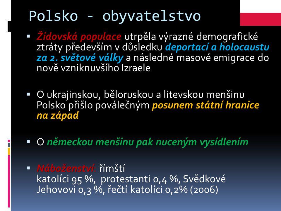 Polsko - obyvatelstvo  Židovská populace utrpěla výrazné demografické ztráty především v důsledku deportací a holocaustu za 2.