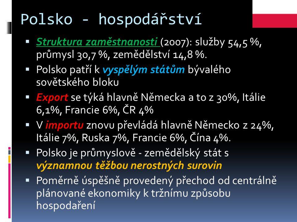 Polsko - hospodářství  Struktura zaměstnanosti (2007): služby 54,5 %, průmysl 30,7 %, zemědělství 14,8 %.