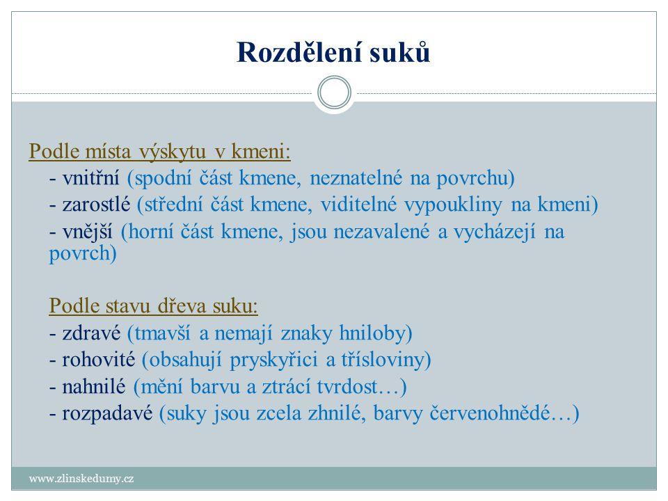 Rozdělení suků www.zlinskedumy.cz Podle místa výskytu v kmeni: - vnitřní (spodní část kmene, neznatelné na povrchu) - zarostlé (střední část kmene, vi