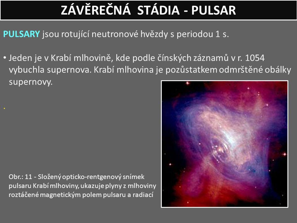 PULSARY jsou rotující neutronové hvězdy s periodou 1 s. Jeden je v Krabí mlhovině, kde podle čínských záznamů v r. 1054 vybuchla supernova. Krabí mlho
