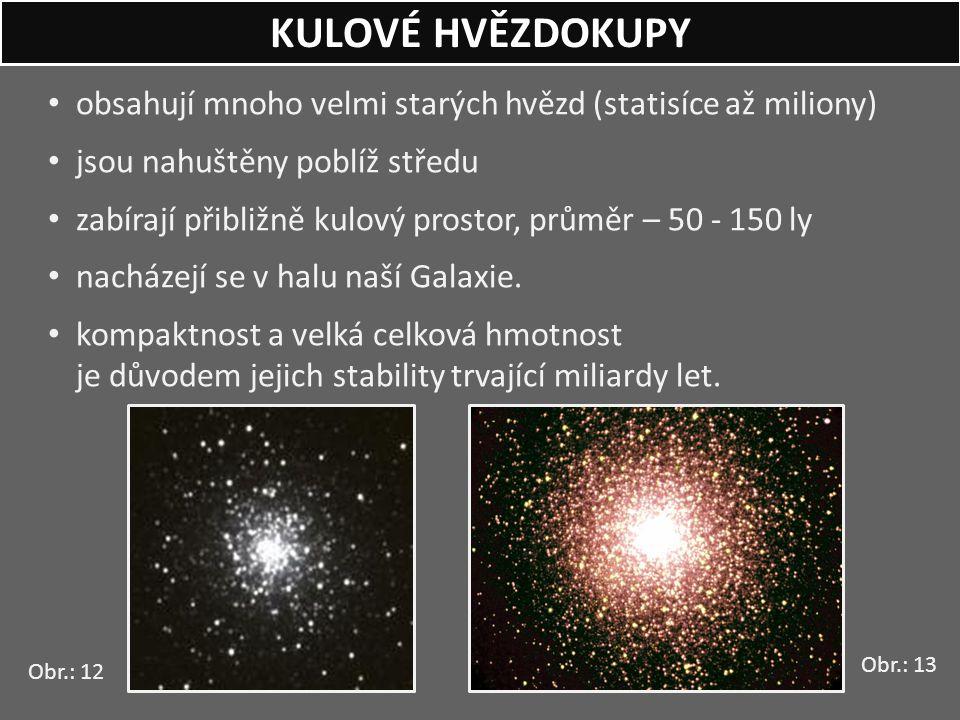 obsahují mnoho velmi starých hvězd (statisíce až miliony) jsou nahuštěny poblíž středu zabírají přibližně kulový prostor, průměr – 50 - 150 ly nacháze
