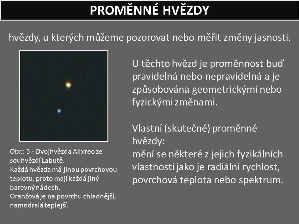 hvězdy, u kterých můžeme pozorovat nebo měřit změny jasnosti. U těchto hvězd je proměnnost buď pravidelná nebo nepravidelná a je způsobována geometric