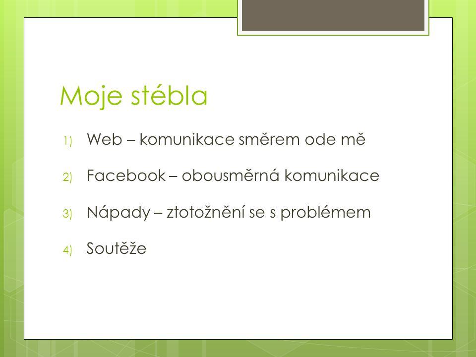 Moje stébla 1) Web – komunikace směrem ode mě 2) Facebook – obousměrná komunikace 3) Nápady – ztotožnění se s problémem 4) Soutěže