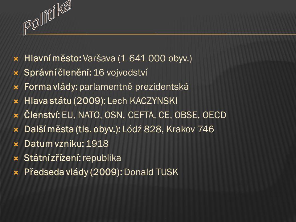  Hlavní město: Varšava (1 641 000 obyv.)  Správní členění: 16 vojvodství  Forma vlády: parlamentně prezidentská  Hlava státu (2009): Lech KACZYNSK