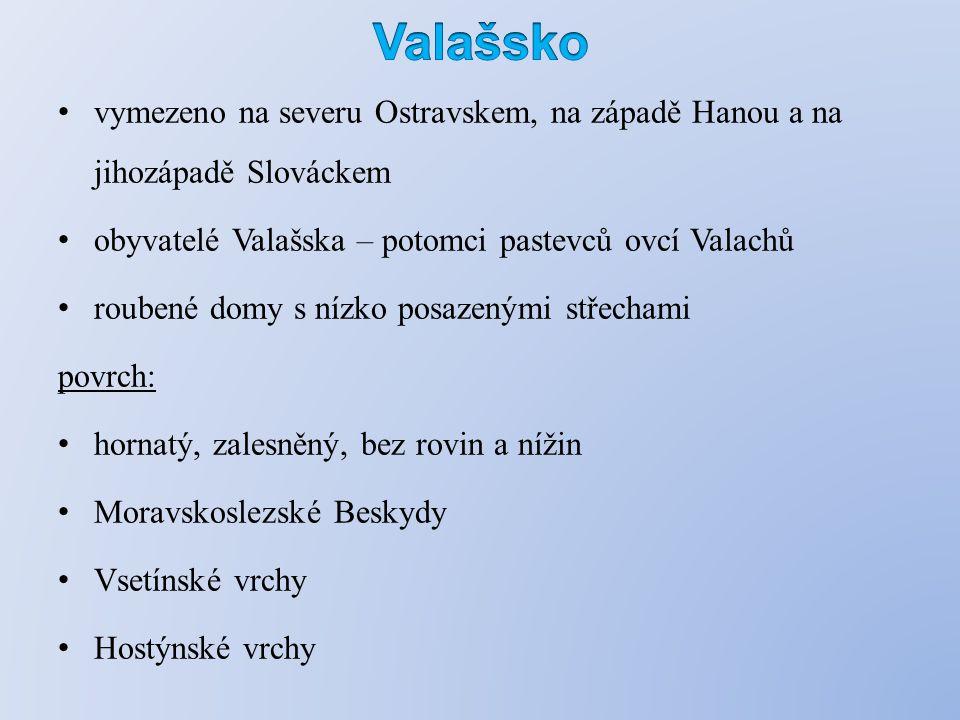 vymezeno na severu Ostravskem, na západě Hanou a na jihozápadě Slováckem obyvatelé Valašska – potomci pastevců ovcí Valachů roubené domy s nízko posazenými střechami povrch: hornatý, zalesněný, bez rovin a nížin Moravskoslezské Beskydy Vsetínské vrchy Hostýnské vrchy