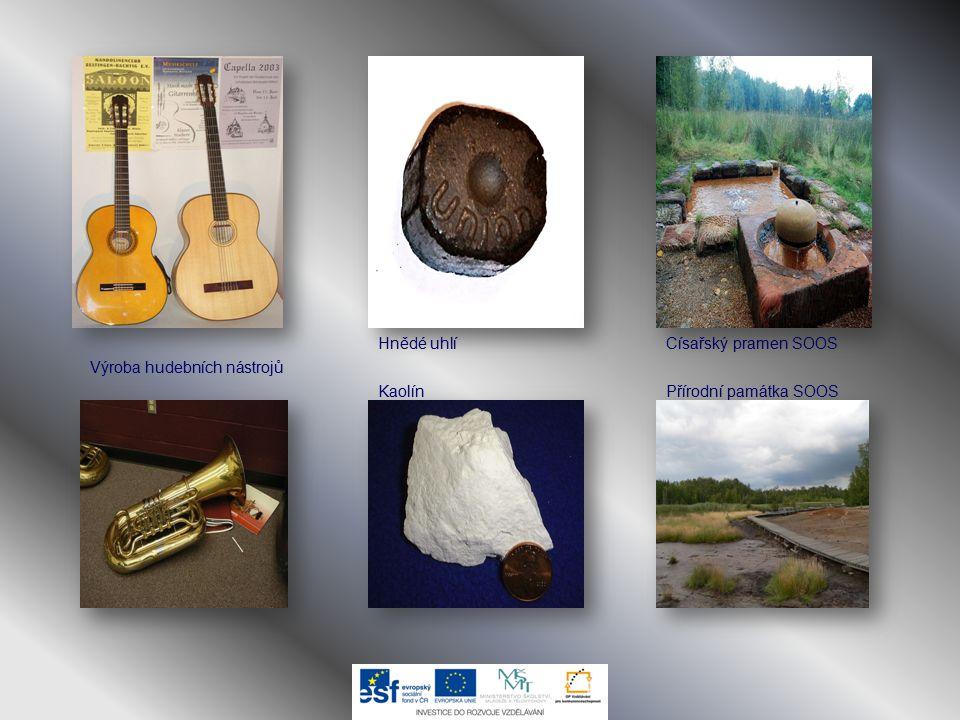 Hnědé uhlí KaolínPřírodní památka SOOS Císařský pramen SOOS Výroba hudebních nástrojů