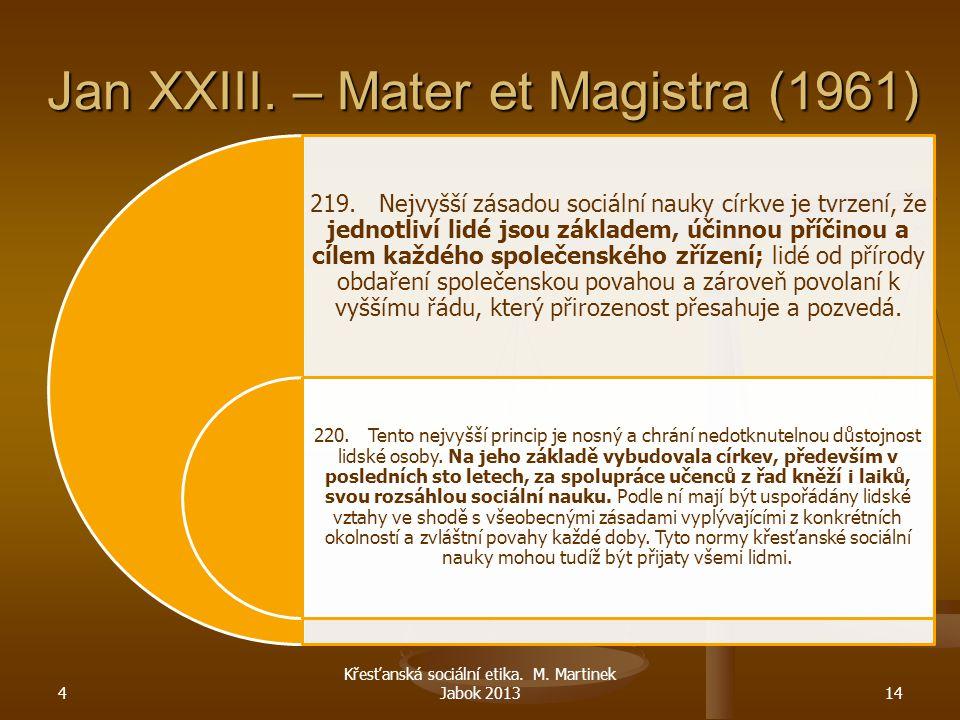 Jan XXIII. – Mater et Magistra (1961) 219. Nejvyšší zásadou sociální nauky církve je tvrzení, že jednotliví lidé jsou základem, účinnou příčinou a cíl