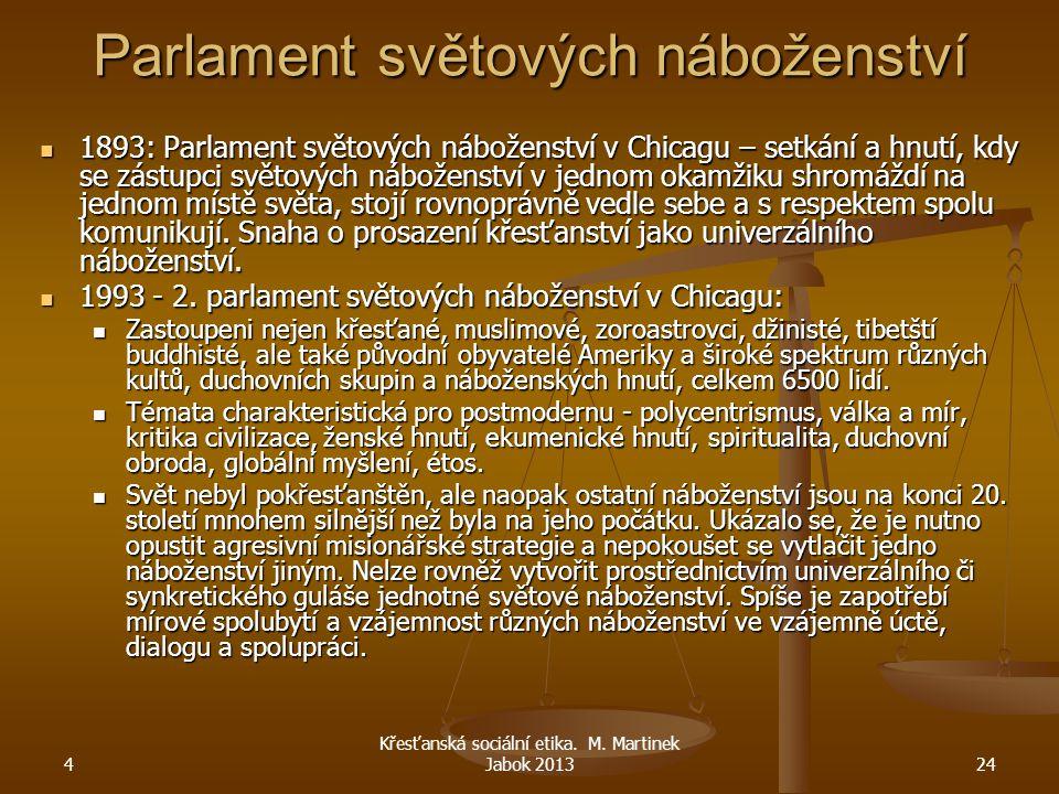 4 Křesťanská sociální etika. M. Martinek Jabok 201324 Parlament světových náboženství 1893: Parlament světových náboženství v Chicagu – setkání a hnut